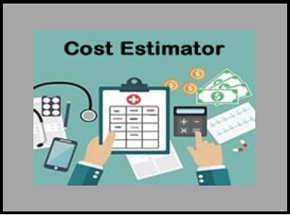 picture of hands holding a clipboard and using a calculator with caption of cost estimator