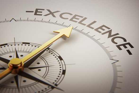 image of a compass piint at the word excellence