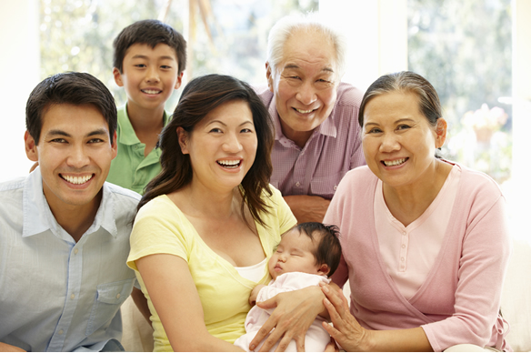 multigenerational family with new born
