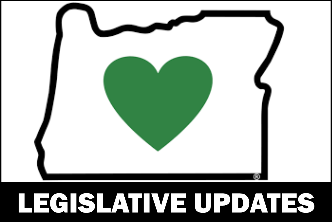 outline of the state of Oregon with green heart and the label legislative updates