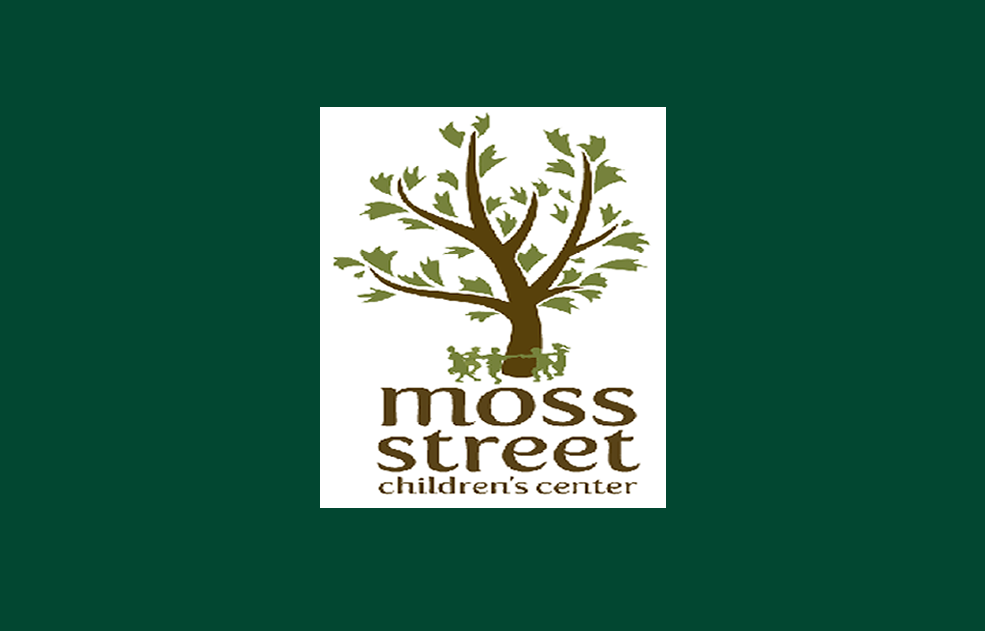 logo for Moss Street Children's Center with green background