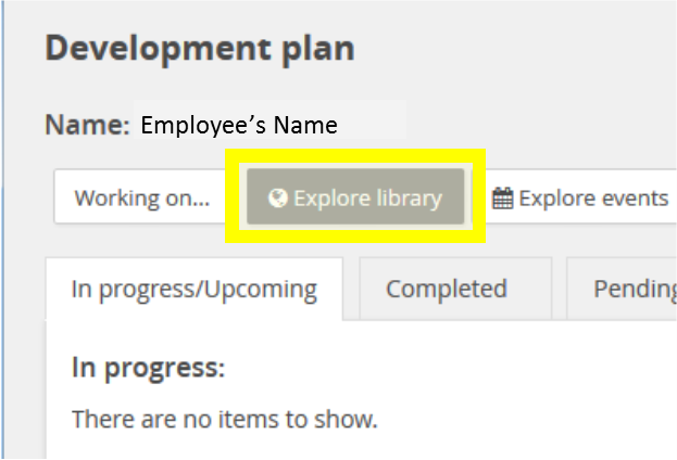 mytrack learning module screenshot of employee's development plan