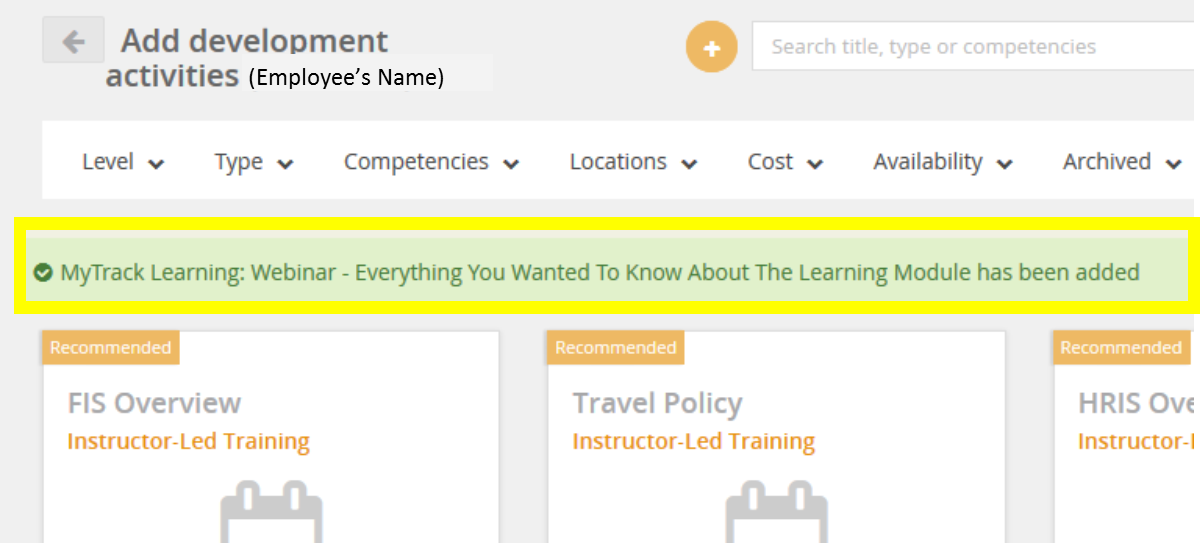 mytrack learning module screenshot for booked activity confirmation