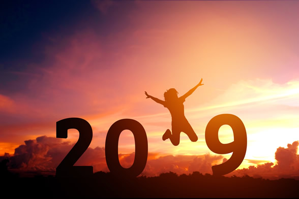 picture of big numbers 2 0 1 9 year with person jumping through