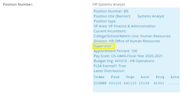 Screenshot of where to find supervisor information in the blue box on the position description in MyTrack