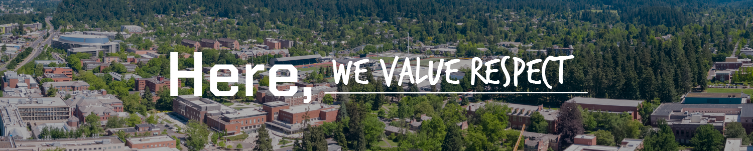ariel image of UO campus in Eugene with Here, we value respect written across.