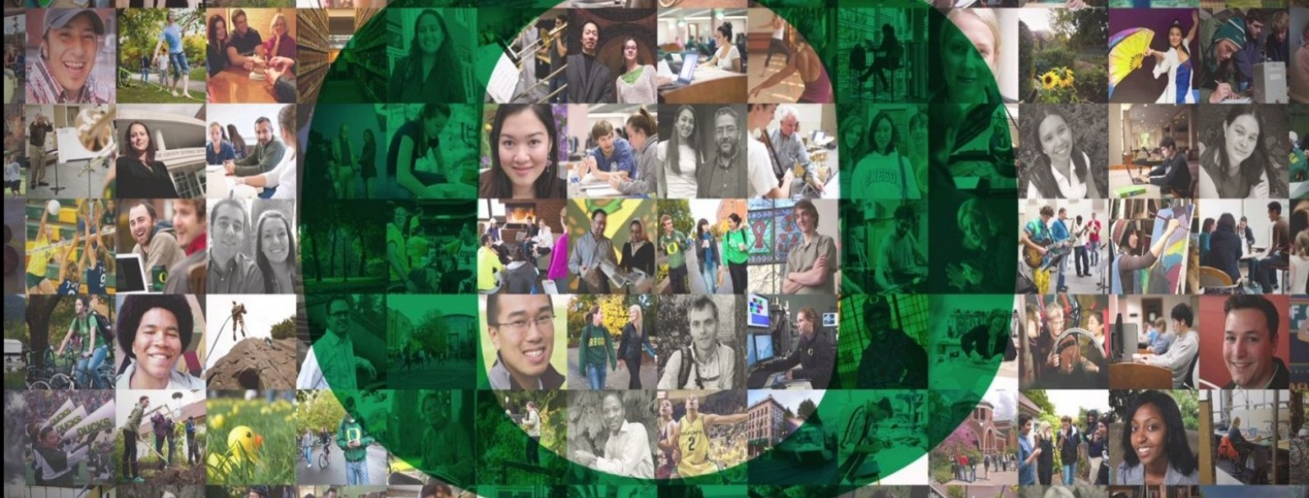 collection of photos representing Uo faculty, staff and students
