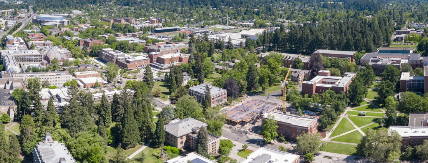 panoramic photograph of eugene campus from an aerial view