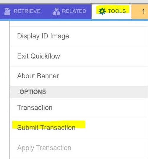 Screenshot the submit transaction option under the Tools menu in Banner.