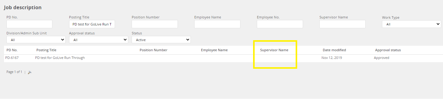 Screenshot of the supervisor column in the PD library in MyTrack